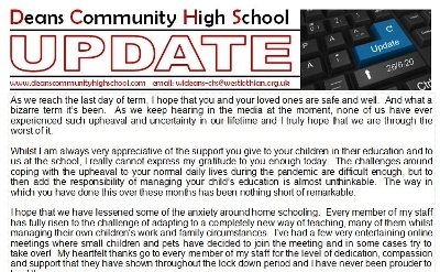 Update 26-6-20 for Parents/Carers & Students Icon